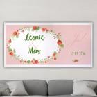 XL Banner zu Hochzeit und Polterabend mit Blumen, Namen und Datum, 1,60 x 0,80m