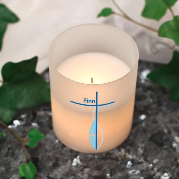 LED Kerze für Jungen mit Kreuz