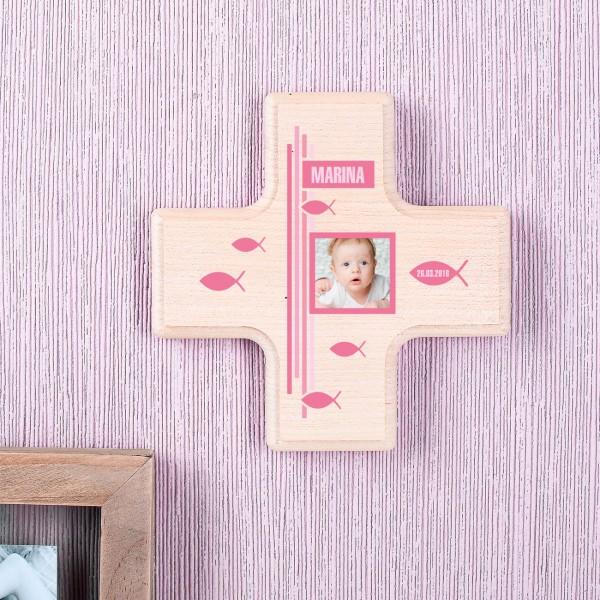 Kleines Holzkreuz für Mädchen zur Taufe bedruckt mit Foto, Name, Datum