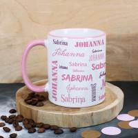 Tasse mit zwei Namen in verschiedenen Schriftarten - rosa