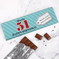 Riesige Geburtstags- Schokolade mit großer Altersangabe
