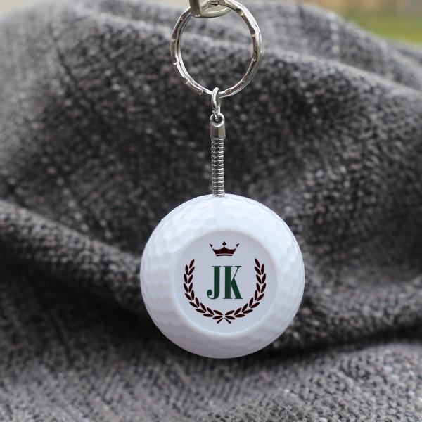 Golfball Schlüsselanhänger mit Initialen, Krone und Ährenkranz
