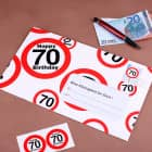 XXL Geldgeschenk zum 70. Geburtstag