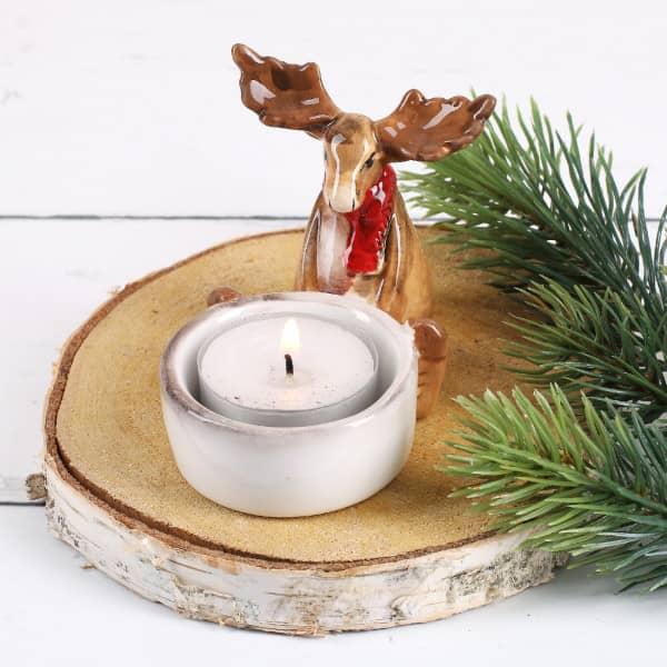 Teelichthalter Elch mit Schal