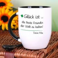 Kaffeebecher mit Löffel - Glück ist - mit Ihrem Wunschtext