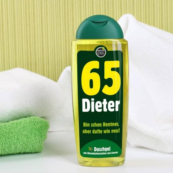 pers nliches duschgel zum 65 geburtstag mit olivenextrakt und limone. Black Bedroom Furniture Sets. Home Design Ideas