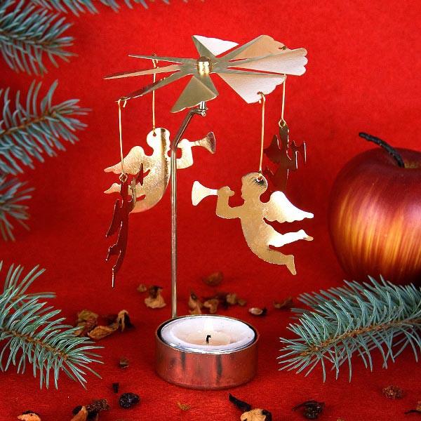 Teelichthalter in gold mit Engeln