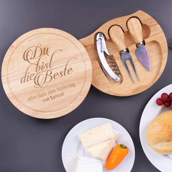 graviertes Holzbrett für Käse mit Gravur