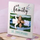 Edelstahl Fotorahmen - we are family - mit Wunschtext 14x17 cm