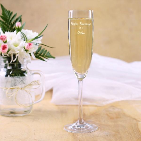 Graviertes Sektglas für den Besten Trauzeugen mit Wunschname