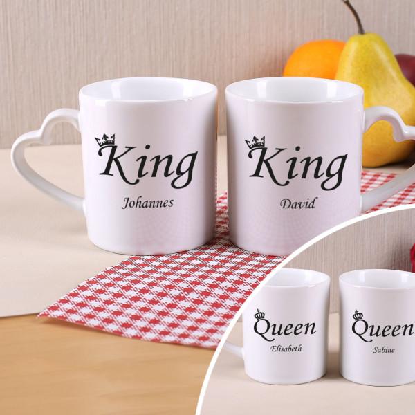 Individuellküchenzubehör - Paartassen King King oder Queen Queen - Onlineshop Geschenke online.de