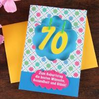 Grußkarte mit Wäscheleine zum 70.Geburtstag