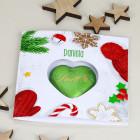 Winterliche Karte mit grünem Lindt Schoko Herz