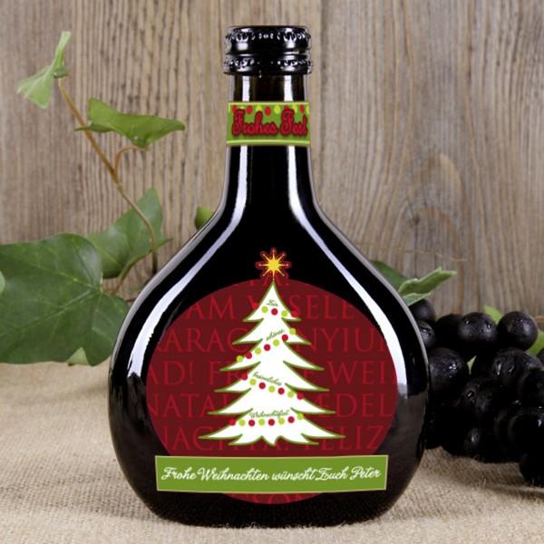 Bocksbeutel mit weihnachtlichem Etikett und Ihrem Wunschtext