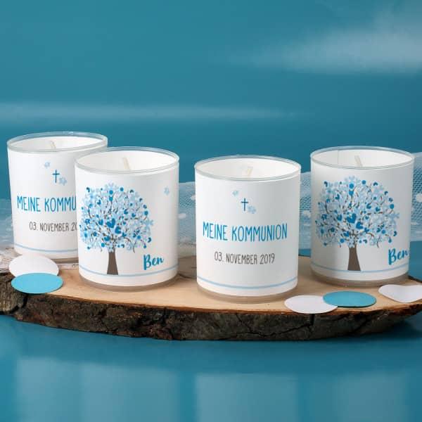 Vier Teelichter zur Kommunion mit Lebensbaum