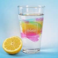 Trinkglas mit Namen im Watercolor-Design