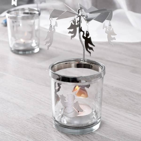 Rotierender Teelichthalter mit Engel
