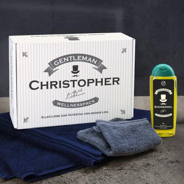 Gentleman Wellnesspack mit Handtuch und Duschgel in Geschenkbox