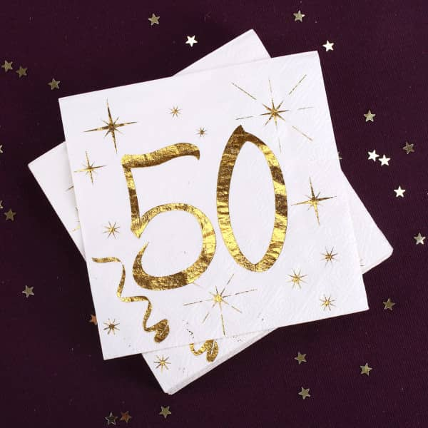 Partybedarfpartydeko - Weiße Servietten zum 50. Geburtstag in Gold Metallic - Onlineshop Geschenke online.de