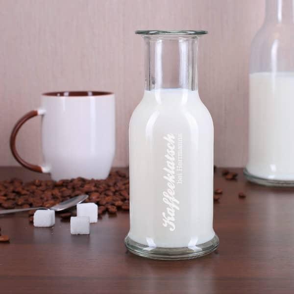 Glaskaraffe für Milch graviert mit Ihrem Namen