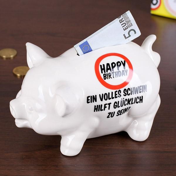 Sparschwein in weiß aus Prozellan