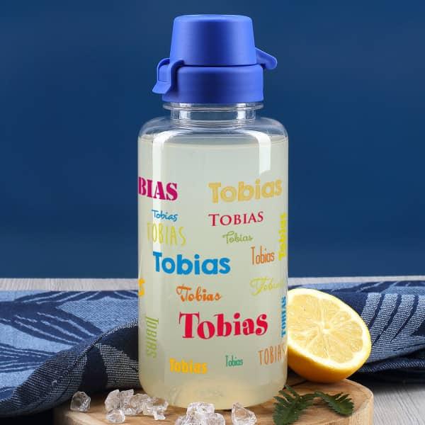 Transparente Trinkflasche mit Name - bunt