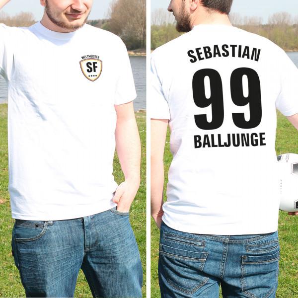 Fussball Weltmeister T Shirt im Trikot Stil mit Name, Initialen und Position