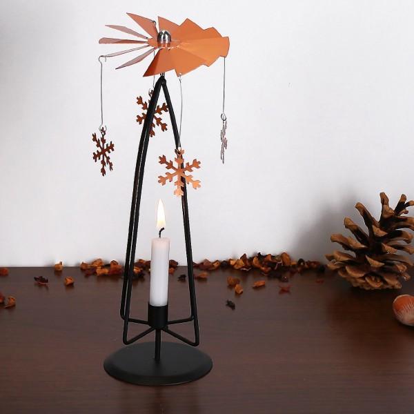 Rotierender Metall-Kerzenhalter mit Schneeflocken rosègold