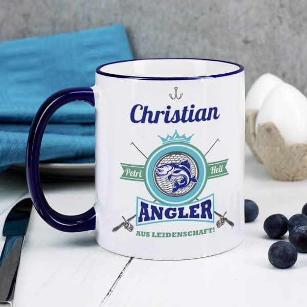 Ausgefallenspezielles - Angler aus Leidenschaft Tasse mit Name - Onlineshop Geschenke online.de