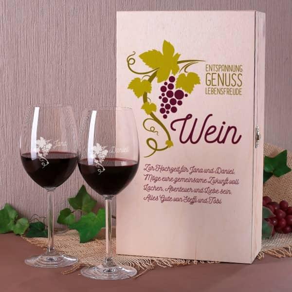 Weinbox Weinranke mit 2 gravierten Gläsern