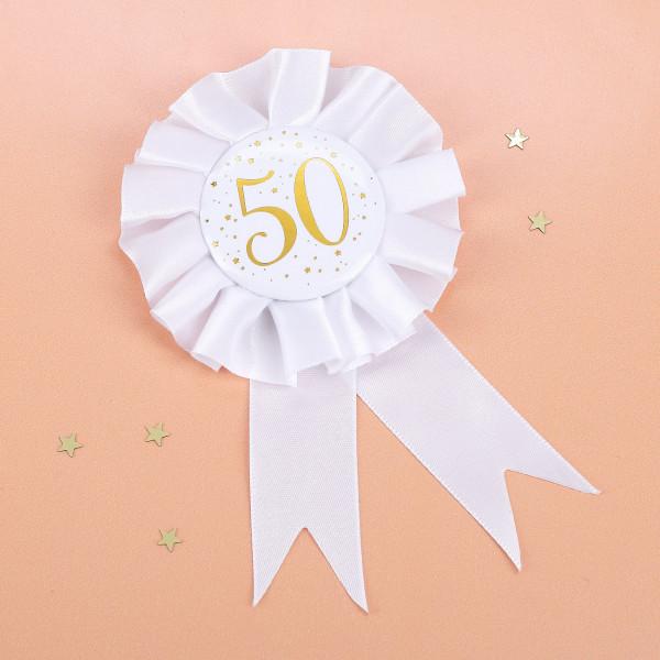 Rosette zum anstecken und mit Geburtstagsaufdruck zum 50.