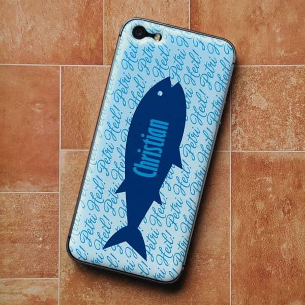 Gelfolie mit Anglermotiv und Ihrem Wunschnamen für iPhone 5