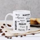 schlichte Tasse mit Ihrem Wunschnamen - schwarz und weiß
