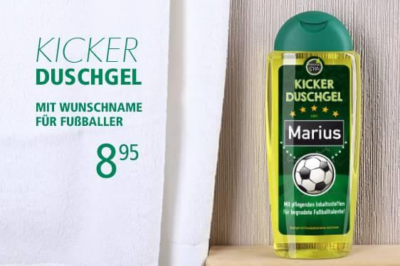 Duschgel mit Namen bedruckt für Fußballer
