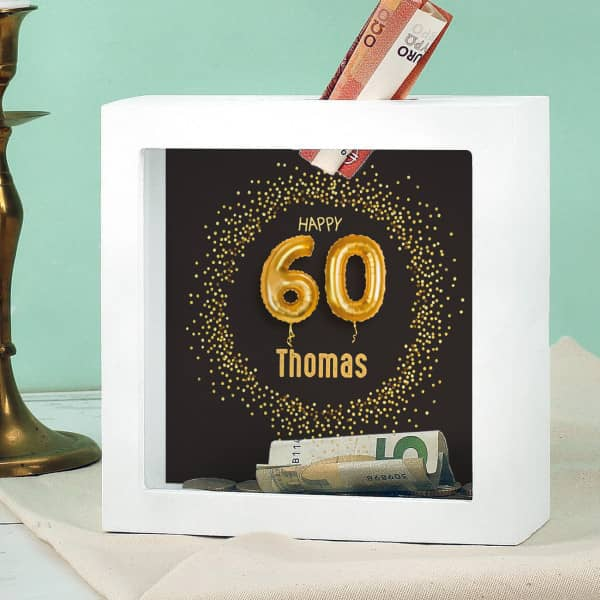 Happy 60 - Bilderrahmen Spardose zum 60. Geburtstag mit Name, 15x15cm