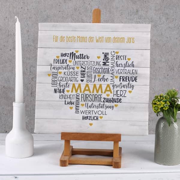 Muttertagsgeschenk - Leinwand mit Herz & Wunschtext 30x30cm