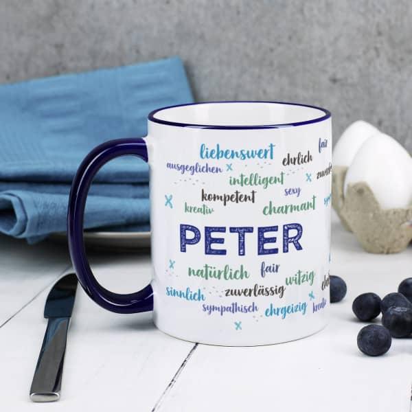 Tasse bedruckt mit positiven Eigenschaften und Name, blau
