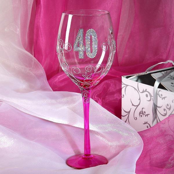 Pinkes Wein Glas zum 40.Geburtstag