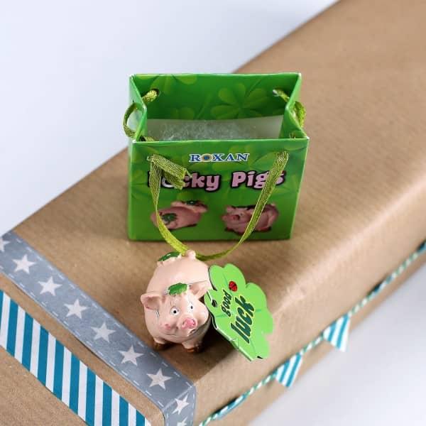 Glücksschwein mit Kleeblatt in Geschenktüte
