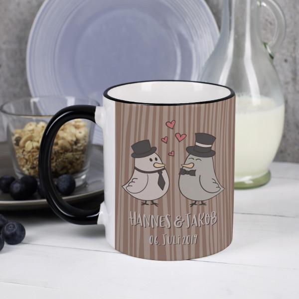 Tasse mit Tauben-Motiv zur Hochzeit mit Bräutigam und Bräutigam bedruckt