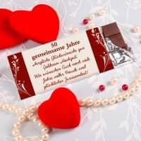 100g Schokolade zur Goldhochzeit mit Wunschtext