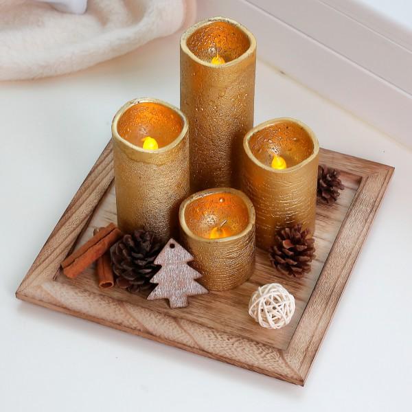 Holzteller mit 4 goldenen LED-Kerzen