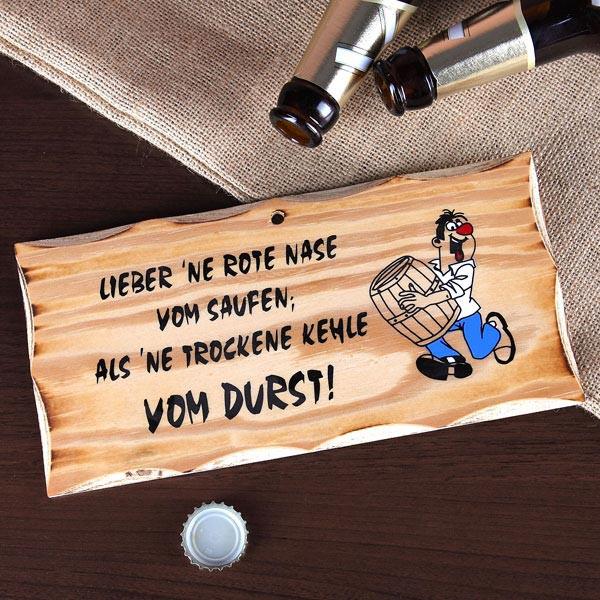 Holzschild mit humorvollem Spruch
