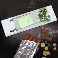 XL-Euro-Schokolade mit Geldumschlag und persönlichem Text