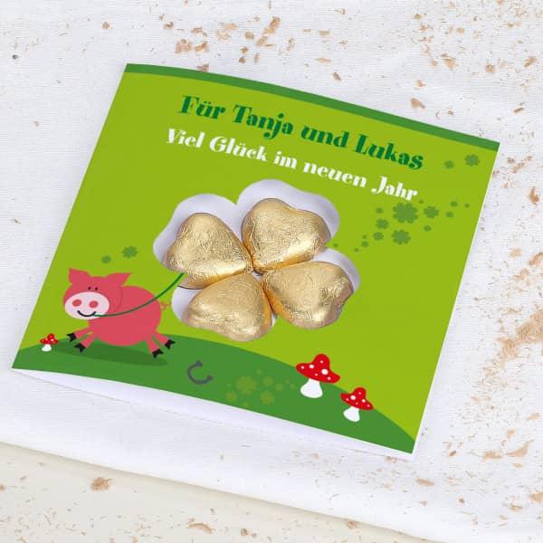 Viel Glück - Karte mit Lindt Schokoladen-Kleeblatt und Wunschtext