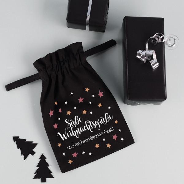 Bedrucktes Stoffsäckchen zu Weihnachten mit Wunschtext