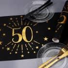 Tischläufer aus Vlies zum 50. Geburtstag - schwarz/gold