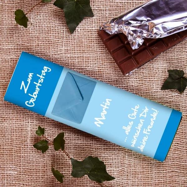 XL Schokolade mit Namen, Text und Umschlag zum Geburtstag