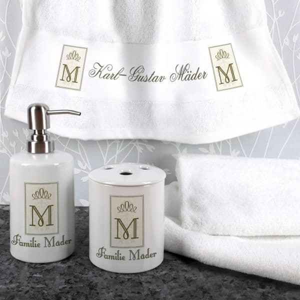 Individuellbadzubehör - 4 teiliges Geschenkset für's Bad mit Name und Initiale - Onlineshop Geschenke online.de