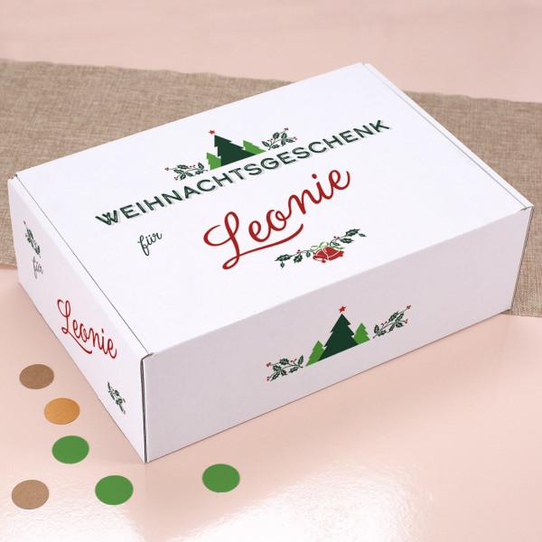 Weihnachtsgeschenk - Verpackung mit Name und Ornament
